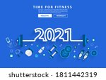 2021 new year fitness concept... | Shutterstock .eps vector #1811442319