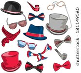 set hipster hats  scarves  bow... | Shutterstock . vector #181149560