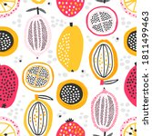 seamless pattern with hand... | Shutterstock .eps vector #1811499463