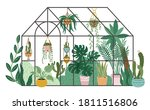 planting greenhouse. glass... | Shutterstock .eps vector #1811516806