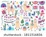 Mexican Cute Llamas. Llama And...