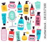 makeup tools. skincare routine... | Shutterstock .eps vector #1811517100