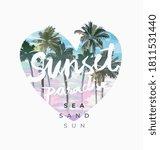 sunset paradise slogan on palm...   Shutterstock .eps vector #1811531440
