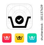 shopping basket check icon.