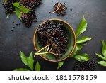 Raw Ripe Elderberry In A Bowl...
