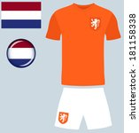 Holland Football Jersey. Abstract vector image of the Netherlands Football Team kit, along with the Dutch flag and icon.