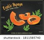 papaya slices and papaya vector ... | Shutterstock .eps vector #1811585740
