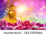 Buddha Figure Among Lotus...