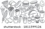 fast food outline drawn icon... | Shutterstock .eps vector #1811599126