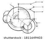 geometry blueprint sketch.... | Shutterstock .eps vector #1811649403