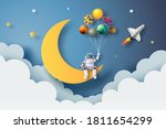 the astronaut is sitting on the ... | Shutterstock .eps vector #1811654299