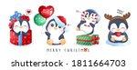 Cute Doodle Penguins Set For...