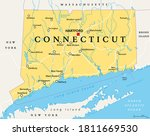 Connecticut, political map with capital Hartford. State of Connecticut, CT, the southernmost state in the New England region of the northeastern United States of America. English. Illustration. Vector