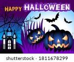 happy halloween background with ... | Shutterstock .eps vector #1811678299