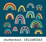 doodle childrens rainbow set.... | Shutterstock .eps vector #1811680363