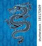 black dragon on blue background | Shutterstock .eps vector #181172609