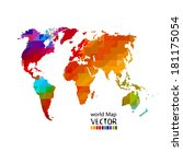 bright colored map of the world ... | Shutterstock .eps vector #181175054
