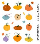pumpkin of various shapes and... | Shutterstock .eps vector #1811753293