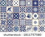 blue portuguese tiles pattern   ... | Shutterstock .eps vector #1811757580