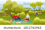 people in park  on picnic... | Shutterstock .eps vector #1811761963