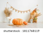 Large Pumpkin On A White...