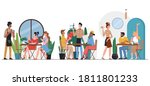 people in cafe flat vector... | Shutterstock .eps vector #1811801233
