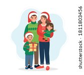 happy family at christmas. cute ... | Shutterstock .eps vector #1811803456