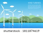 offshore and onshore wind farms ... | Shutterstock .eps vector #1811874619