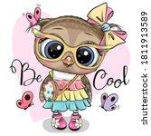 cute cartoon owl in a dress on... | Shutterstock .eps vector #1811913589
