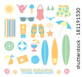 vector set  beach fun objects | Shutterstock .eps vector #181191530