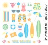 vector set  beach fun objects | Shutterstock .eps vector #181191530