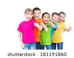 group of happy kids with thumb... | Shutterstock . vector #181191860