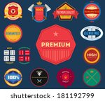 set of flat colored vintage... | Shutterstock .eps vector #181192799