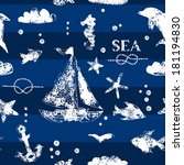 Grunge white stamp print sailboat, anchor, fishes, seagull on navy blue background seamless pattern, vector