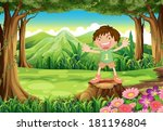 illustration of a stump with a... | Shutterstock .eps vector #181196804