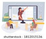 children student sitting at... | Shutterstock .eps vector #1812015136