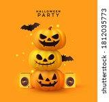 happy halloween disco party.... | Shutterstock .eps vector #1812035773