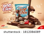 chocolate popcorn ad  pouring... | Shutterstock .eps vector #1812086089