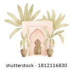 Watercolor Set With Pink Arch ...