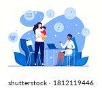 concept healthy childhood. mom... | Shutterstock .eps vector #1812119446