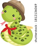 a vector of cute snake in a... | Shutterstock .eps vector #1812136069