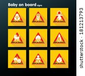 flat baby on board sign set  ... | Shutterstock .eps vector #181213793