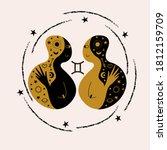 gemini. zodiac sign. two girls...   Shutterstock .eps vector #1812159709