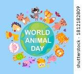 world animal day on october 4... | Shutterstock . vector #1812182809
