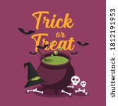 witch cauldron with bubbling... | Shutterstock .eps vector #1812191953