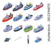 Fishing Boat Icons Set....