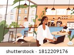people sit at tables and drink... | Shutterstock .eps vector #1812209176
