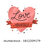 red heart and ribbon with... | Shutterstock .eps vector #1812209179