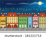 european houses night | Shutterstock .eps vector #181221713