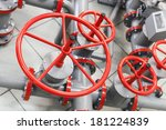 Group Of Red Industrial Valves...